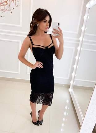 Vestido preto midi festa elegante formatura