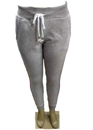 Calça ribana feminina moletom com barra bolso - faixa onça