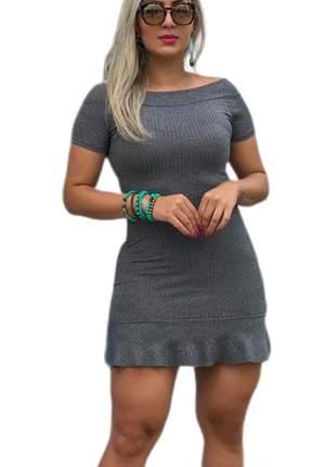 Vestido feminino cinza babadinho manguinha tubinho curto canelado