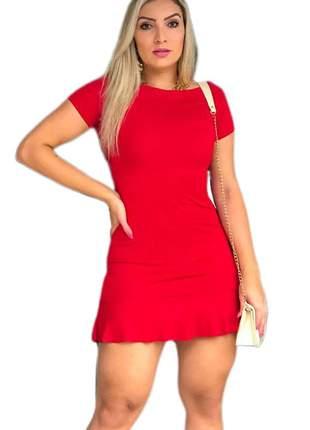Vestido feminino vermelho babadinho manguinha tubinho curto canelado ref 66