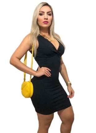 Vestido canelado preto nozinho feminino preto justo festa balada r.6b vcng