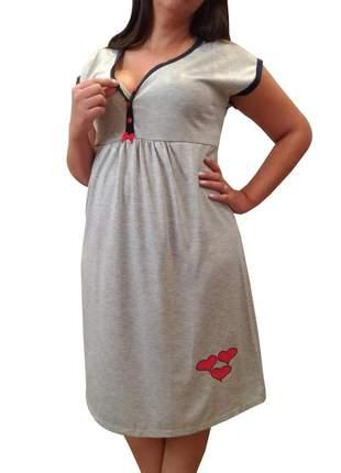 Camisola amamentação gestante e pós-parto com viés e botões 2727 - linda gestante
