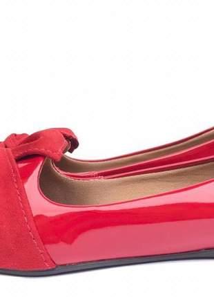 Sapatilha fun store lacê vermelha laço confortavel bico fino verniz