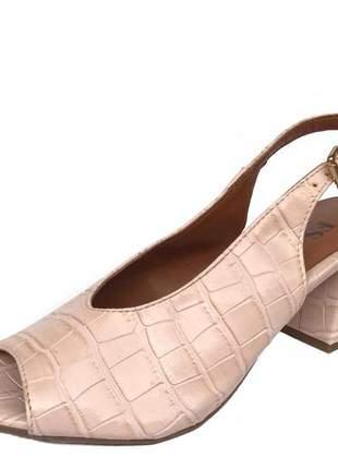 Sapato sandália peep toe fun store confortalvel rosa quartzo croco salto baixo bloco