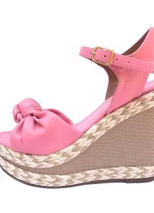 Sandália anabela espadrille sarah rosa salto em cordas fun store