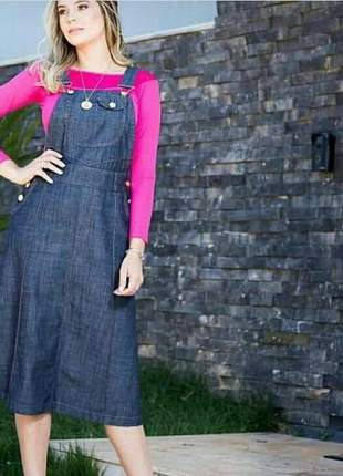 Salopete jeans plus size moda evangélica