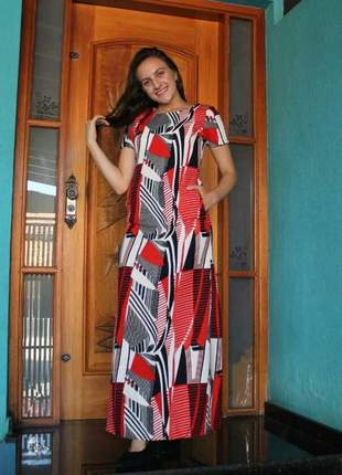 Vestido de linho longo justo roupas evangelicas