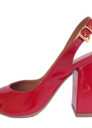 Sandália vermelha fun store peep toe salto grosso bloco confortável