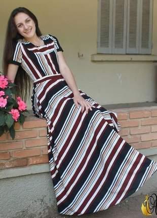 Vestido gode longo em crepe listrado moda evangelica