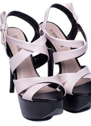 Sandália feminina meia pata festa balada bege/preto