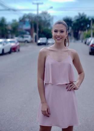 Vestido festa curto casual chic nude rose alcinha soltinho lançamento promoçao