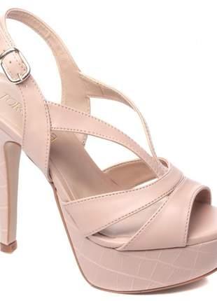 Sandália feminina salto fino meia pata rosê