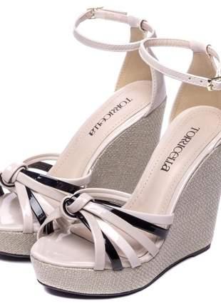 Sandália feminina anabela alta bege