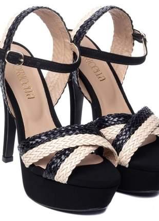 Sandália feminina meia pata alta
