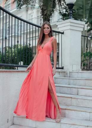 Vestido de festa coral longo com bojo e fenda lançamento verao 2020 promoçao