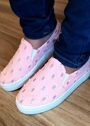 Slip on tenis feminino jeans rasgado rose com glitter rosa