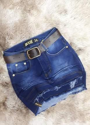 Saia jeans cintura alta da julie promoção verão