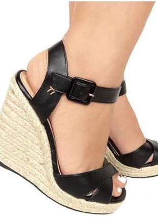 Sandália feminina anabela salto espadrilhe corda