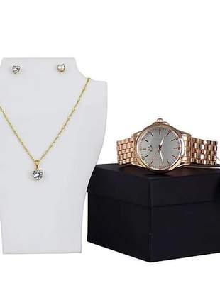 Kit relógio + colar + par de brincos  - luxo