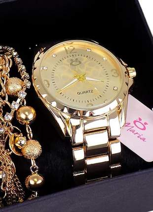 Kit relógio feminino  + pulseira luxo