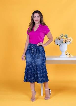 Saia jeans midi com babados com cinto moda evangelica