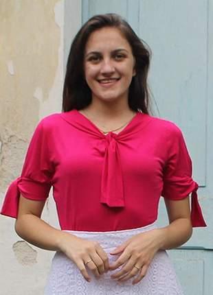 Blusa em viscolycra plus size com laços roupas evangelicas