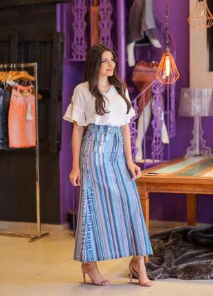 Saia jeans longa colorida com bolsos moda evangélica