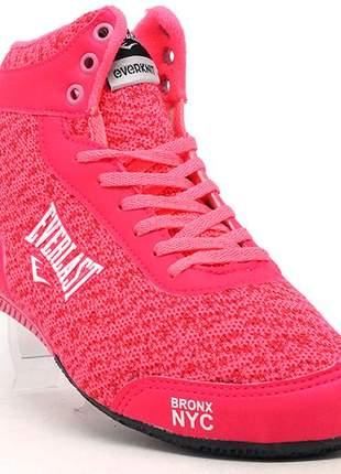Tenis botinha feminino para academia everlast rosa