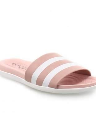 Sandália feminina rasteira chinelo slide rosa branco barato confortavel beira rio