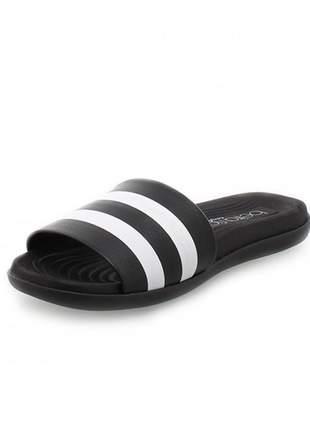 Sandália feminina rasteira preta chinelo slide barato confortavel beira rio