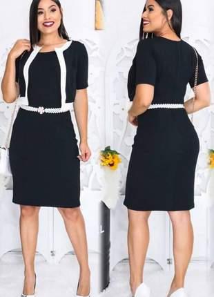 Vestido feminino midi preto liso moda evangélica com casaquinho ref 656