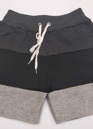 Bermuda short moletom feminino kit 2 peças p m g gg