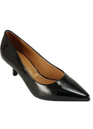 Sapato feminino scarpin vizzano salto baixo verniz preto 1122.600