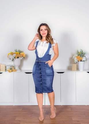 Salopete jeans midi com bolsos moda evangélica