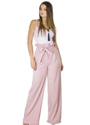 Calça dress code moda pantalona rosê
