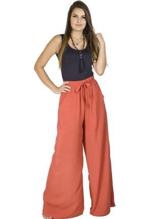 Calça dress code moda pantalona terracota