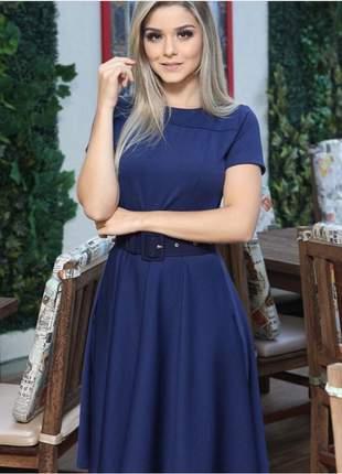 Vestido midi azul marinho