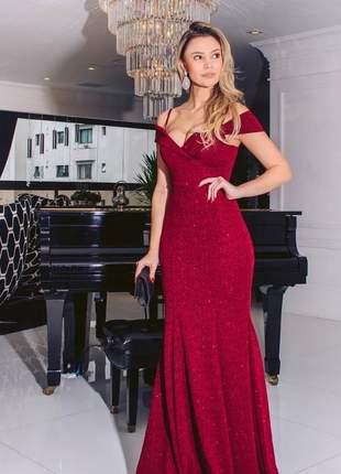 Vestido marsala luxo tecido brilho longo madrinha formanda aniver