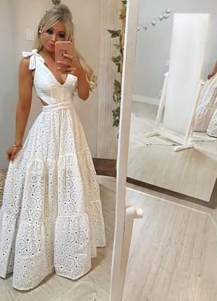 Vestido longo laise branco