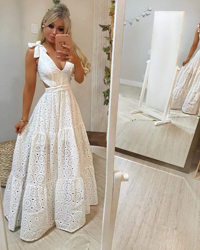 Vestido Longo Laise Branco R 59900 Shafa O Melhor Da Moda Feminina