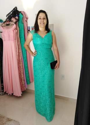 Vestido verde água longo festa madrinha casamento de dia formanda aniver