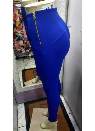 Calça legging montaria cintura alta azul royal tecido que modela