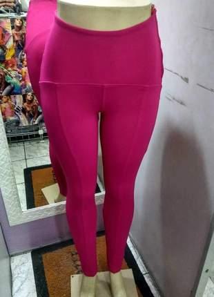 Calça legging montaria cintura alta pink tecido que modela