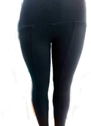 Calça legging montaria cintura alta preta tecido que modela