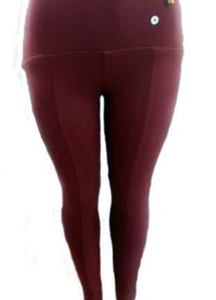 Calça legging legui montaria cintura alta vinho tecido que modela