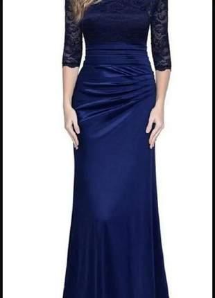 Vestido azul marinho de festa longo madrinhas formandas aniversariantes