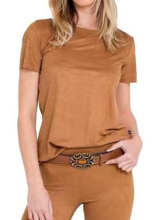 Blusa t shirts suede feminina