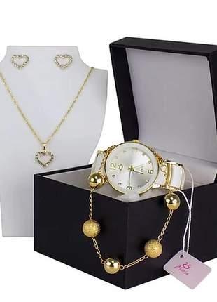 Kit relógio feminino + colar + par de brincos + pulseira - luxo!!