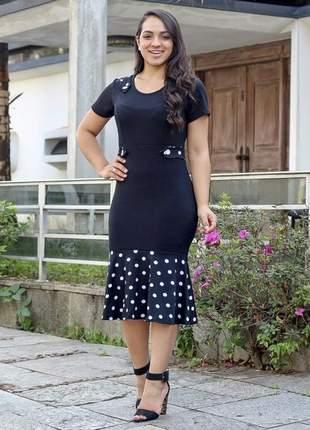Vestido mídi de bolinha moda evangélica com babado ref 655