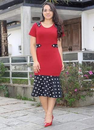 Vestido feminino midi de bolinha moda evangélica acinturado com babado ref 653